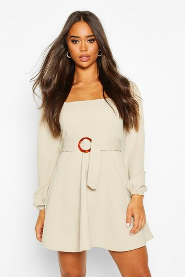 Stone Square Neck O-Ring Buckle Skater Dress
