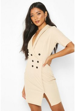 Womens Stone Double Breasted Blazer Dress