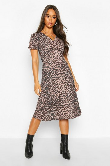 Womens Leopard Print Ruched Front Midi Dress