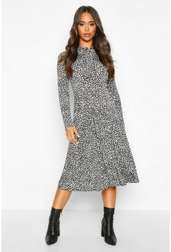 Black Dalmation Print Tie Knot Midi Dress