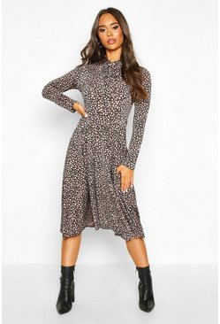 Mocha Dalmation Print Tie Knot Midi Dress