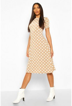 Mocha Polka Dot Short Sleeve Midi Dress