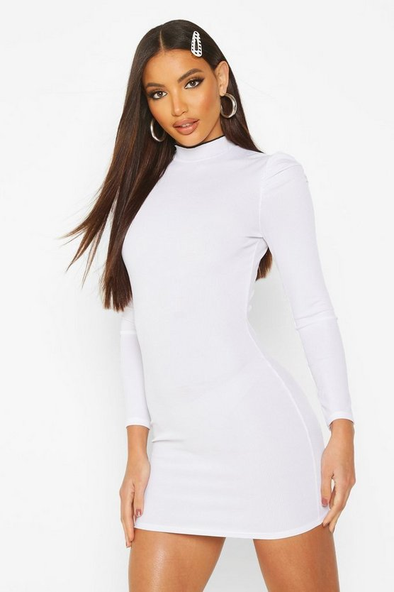 Womens White Funnel Neck Contrast Rib Lettuce Edge Mini Dress
