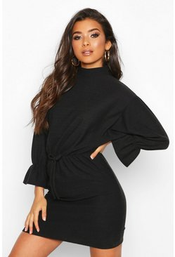 Womens Black Funnel Neck Tie Sleeve Detail Shift Dress