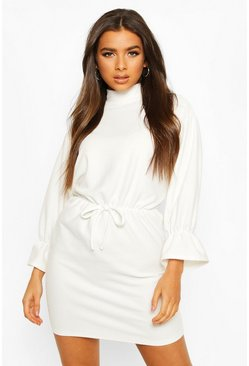 Ivory Funnel Neck Tie Sleeve Detail Shift Dress