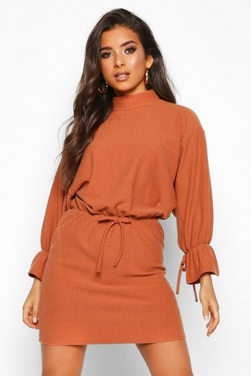 Womens Rust Funnel Neck Tie Sleeve Detail Shift Dress