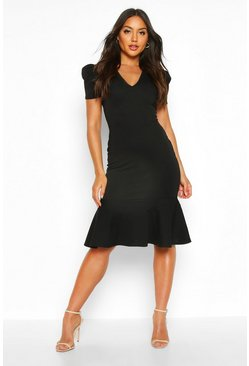 Womens Black V Neck Fishtail Midi Dress
