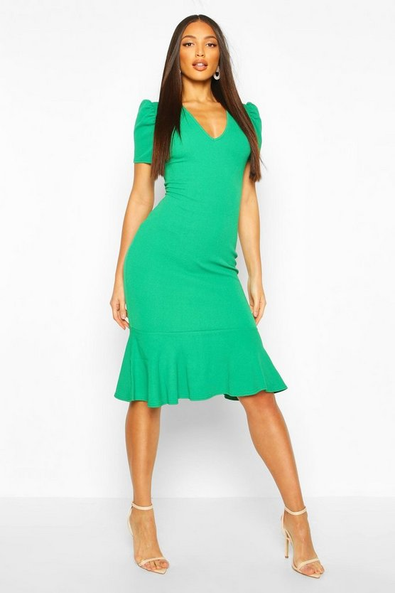 V Neck Fishtail Midi Dress