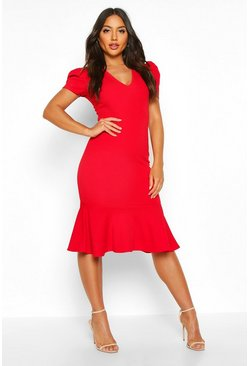Womens Red V Neck Fishtail Midi Dress