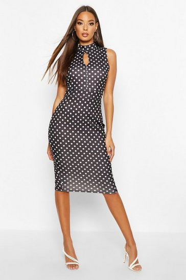 Womens Black High Neck Polka Dot Midi Dress