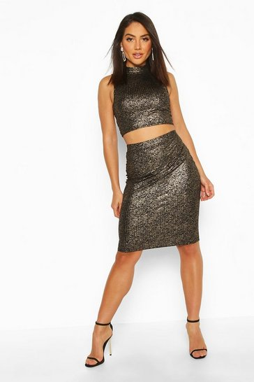 Womens Black Metallic Rib High Neck Top & Mini Skirt Co-Ord
