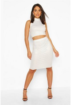 Womens Cream Metallic Rib High Neck Top & Mini Skirt Co-Ord