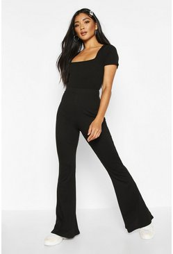 Womens Black Soft Ribbed Flare Trouser