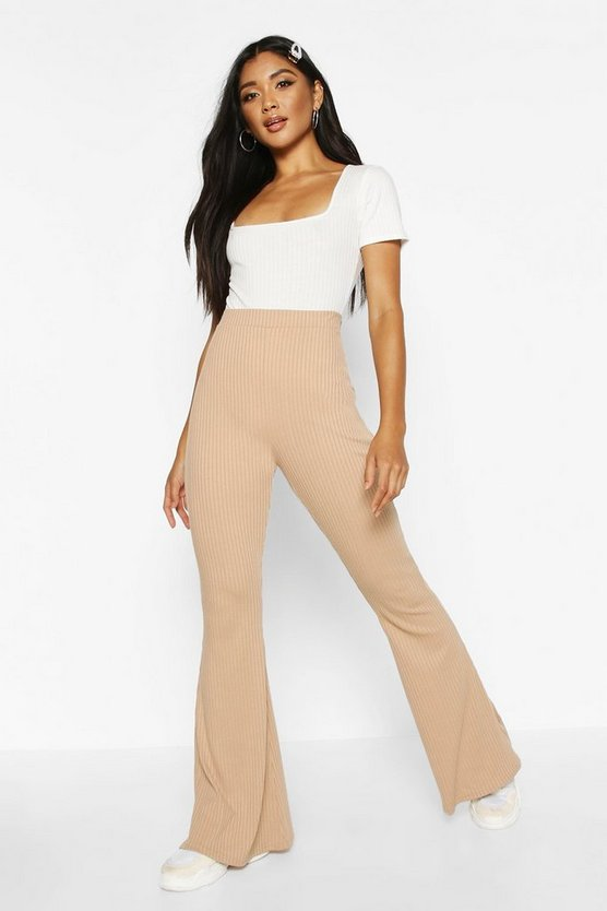Womens Camel Soft Ribbed Flare Trouser