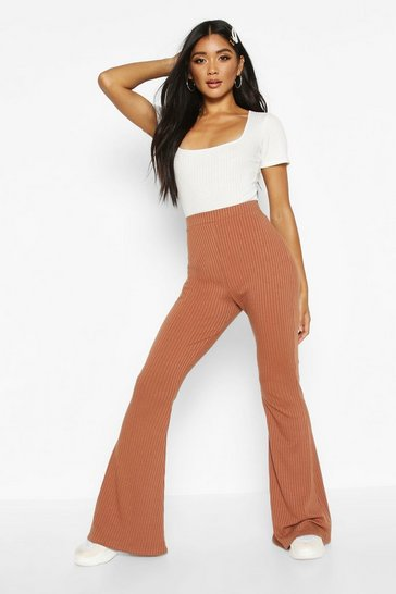 Womens Toffee Soft Ribbed Flare Trouser