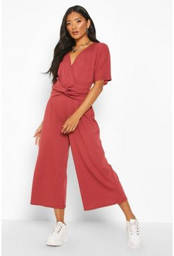 Berry Soft Ribbed Batwing Knot Front Jumpsuit