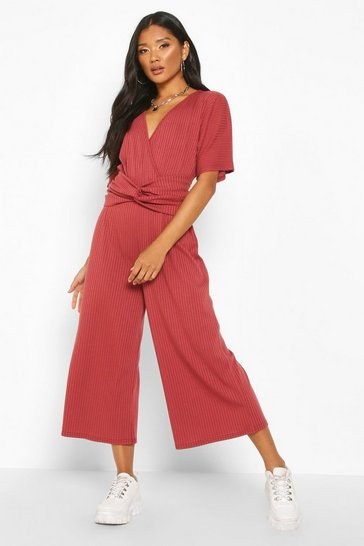 Womens Berry Soft Ribbed Batwing Knot Front Jumpsuit
