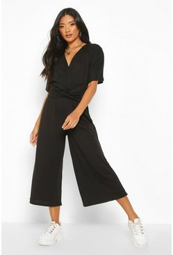 Womens Black Soft Ribbed Batwing Knot Front Jumpsuit