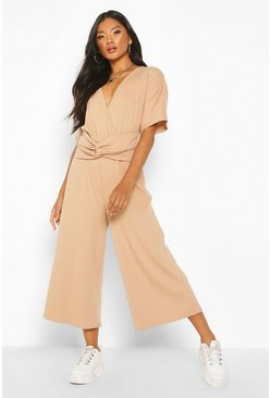 Camel Soft Ribbed Batwing Knot Front Jumpsuit