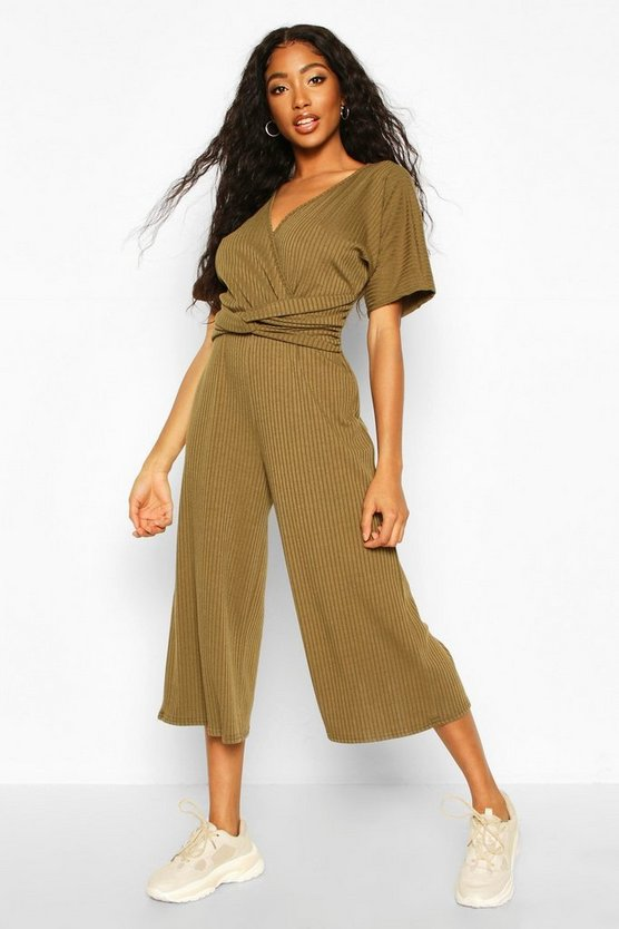Soft Ribbed Batwing Knot Front Jumpsuit