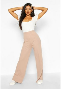 Womens Camel Soft Rib Wide Leg Trouser