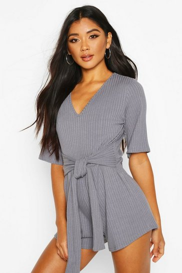Blue Soft Ribbed Tie Waist Playsuit