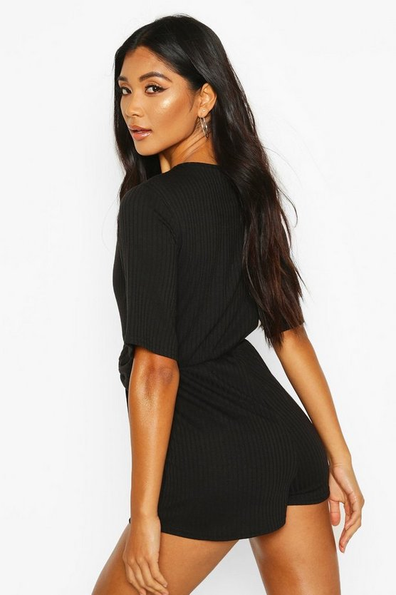 Soft Ribbed Tie Waist Playsuit