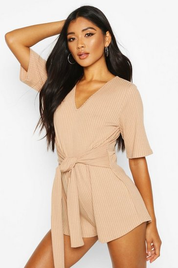 Taupe Soft Ribbed Tie Waist Playsuit