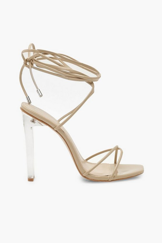 Wrap Strap Clear Strappy Heels