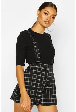 Womens Black Grid Check Tailored Pinnafore Short