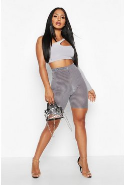 Womens Grey Velvet And Mesh Stripe Cycling Short