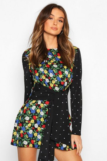 Womens Black Mixed Print Tie Front Playsuit