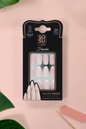Womens White SOSU Frenchie False Nails