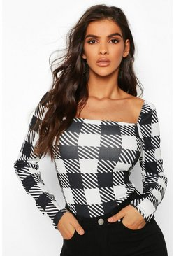 Womens Black Large Check Feature Sleeve Square Neck Top