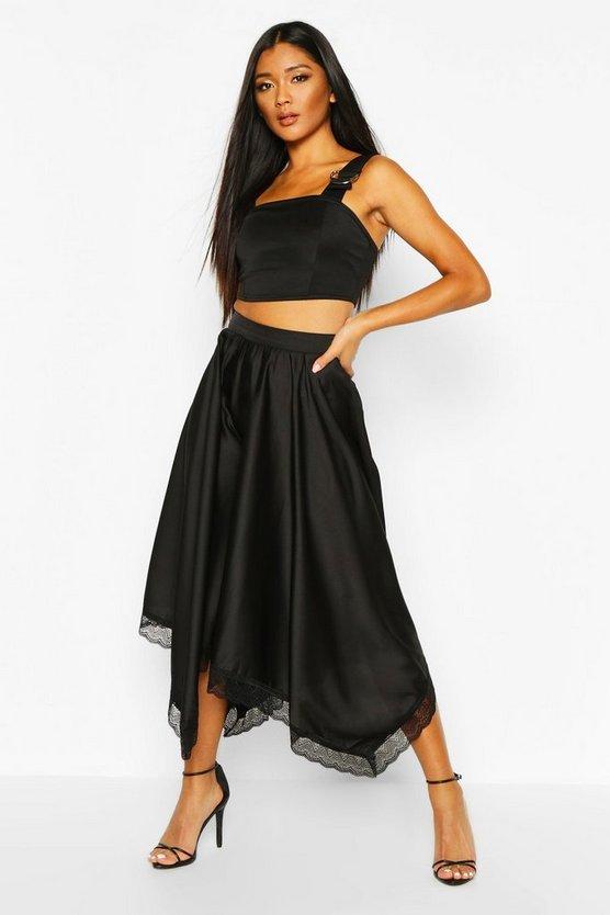 Lace Trim Midi Skirt