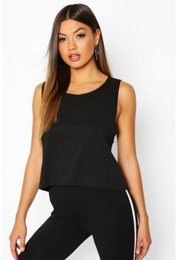 Black Basic Drop Arm Crop Vest