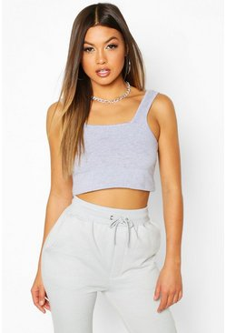 Womens Grey marl Basic Square Neck Crop Top