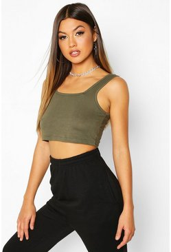 Khaki Basic Square Neck Crop Top
