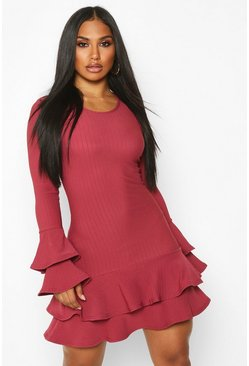 Raspberry Rib Double Ruffle Sleeve & Hem Mini Dress