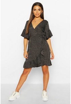 Black Ditsy Polka Dot Print Ruffle Tea Dress