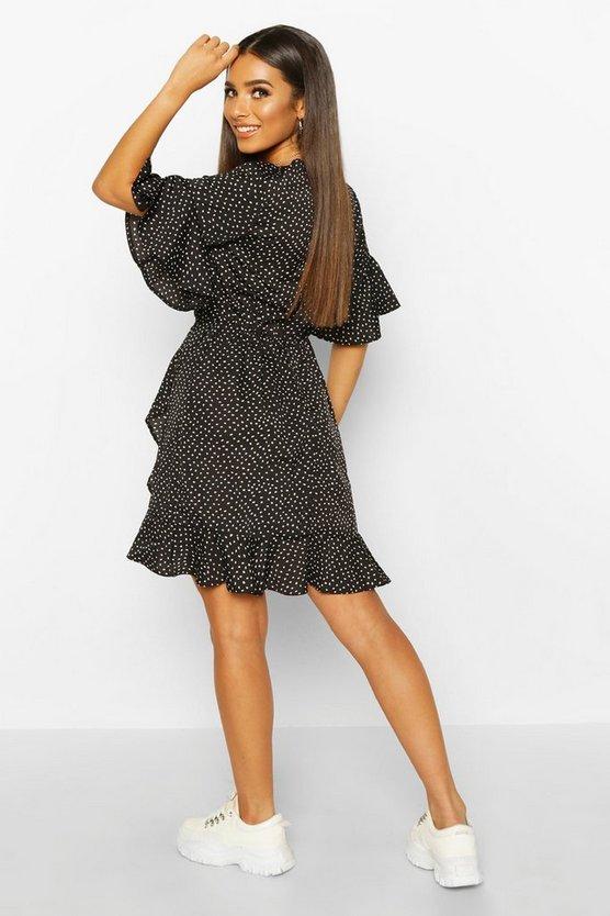 Ditsy Polka Dot Print Ruffle Tea Dress