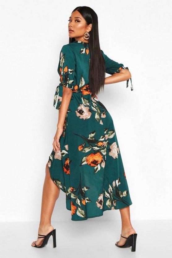Floral Print Wrap Tie Sleeve Midi Dress