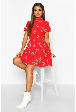 Womens Red Floral Print Ruffle Neck Smock Dress