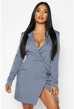 Dusty blue Woven Self - Fabric Button Blazer Dress