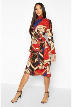 Ecru Scarf Print High Neck Tie Detail Midi Dress