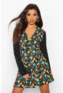 Black Floral & Polka Dot Print Wrap Tea Dress