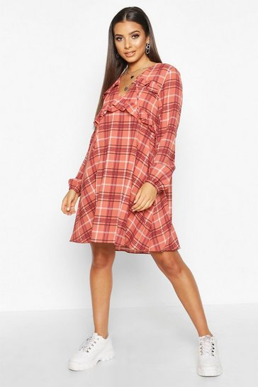Womens Rose Check Ruffle Detail Smock Dress