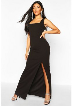 Womens Black Square Neck Thigh Split Maxi Dress