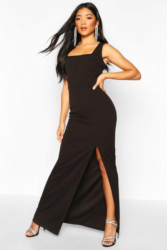 Square Neck Thigh Split Maxi Dress