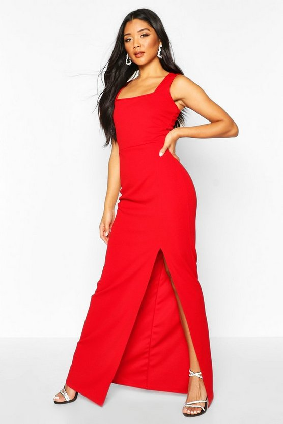 Red Square Neck Thigh Split Maxi Dress